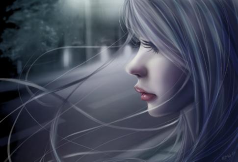Обои Белокурая девушка в профиль, by fayrine