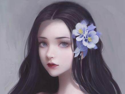 Обои Портрет девушки с длинными волосами и с цветами в них, by qianyu mo