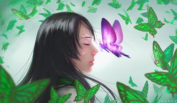 Обои Темноволосая девушка в окружении зеленых бабочек и одной сиренево-белой, by Zhange000