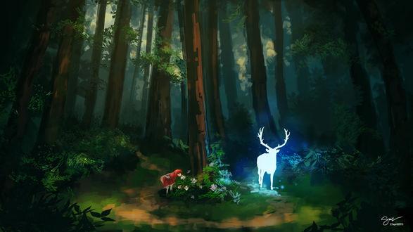 Обои Олень и девочка в лесу, by nightknight456