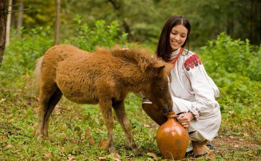 Обои Девушка и ослик, пытающийся узнать - что в кувшине, на фоне природы