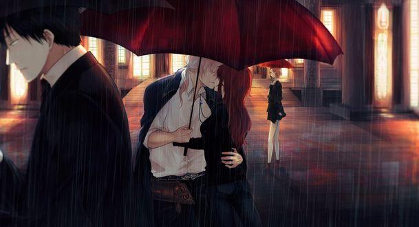 Обои Парень с девушкой целуются, стоя под зонтом, дождливым вечером на улице