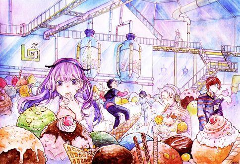 Обои Школьники на экскурсии на кондитерской фабрике, одна девочка в замешательстве смотрит на шарики мороженого