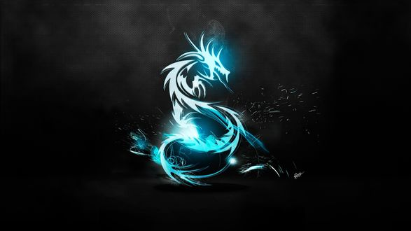 Обои Светящийся голубым цветом, дракон на черном воне