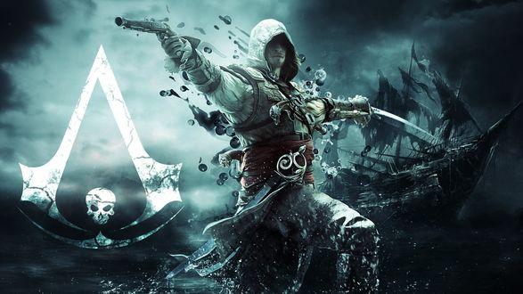 Обои Эдварт Кенуэй из игры Assassins Creed Black Flag / Черный флаг, с кинжалом и пистолетом в обеих руках на фоне моря и корабля