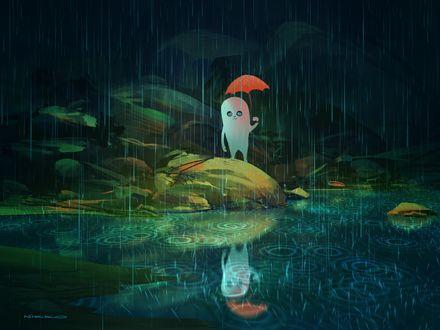 Обои Странный белый чудик с зонтом стоит под дождем, by Николай Локертсен