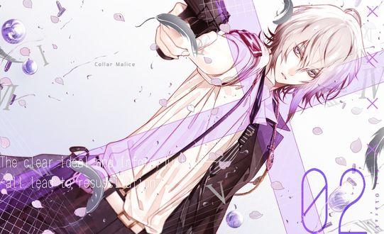 Обои Парень с белыми волосами держит в руке пистолет, Collar Malice, by Kei Okazaki