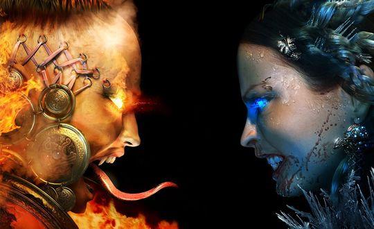 Обои Противостояние стихий: огня и льда, из игры Blood & Magic
