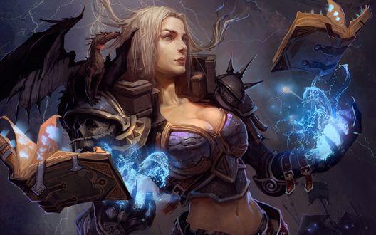 Обои Рунная чародейка с драконом на плече и магическими книгами, из игры Berserk