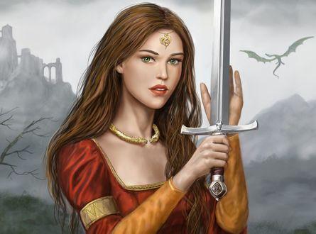 Обои Девушка с мечом в руках, by dashinvaine