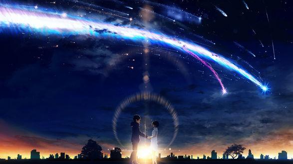 Обои Влюбленные стоят на фоне города под ночным небом, by Y_Y