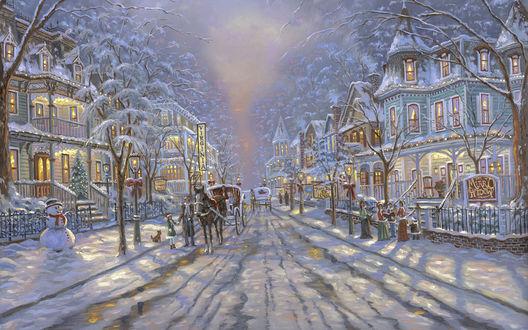 Обои Карета с лошадью едет по улице посреди домов с горящими окнами в рождество, by Thomas Kinkade