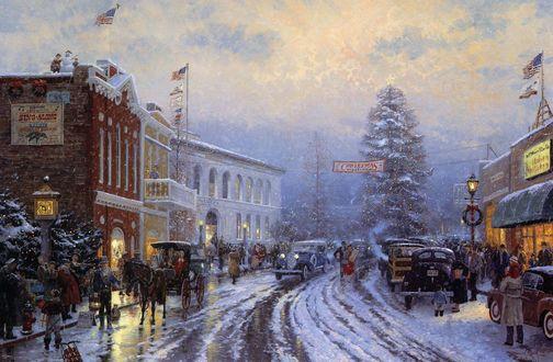 Обои Центральная улица американского города с машинами людьми и двухэтажными домами, перед Рождеством