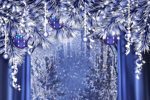 Обои Шарики на блестящей елке возле окна с видом на лес в новый год