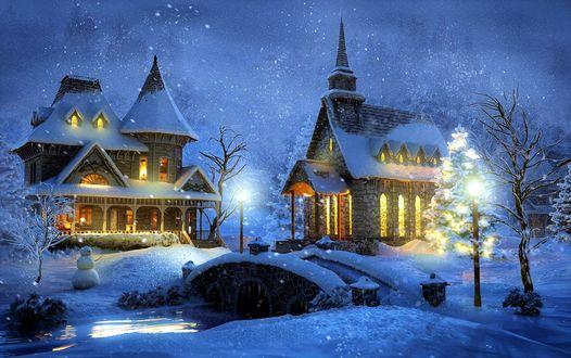 Обои Церковь и дом возле речки с мостом в рождество, by Thomas Kinkade