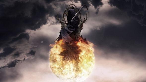 Обои Смерть сидит на троне, стоящим на огненной сфере