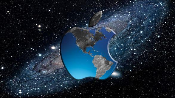 Обои Логотип Логотип Apple / Эппл с изображением глобуса на фоне галактики