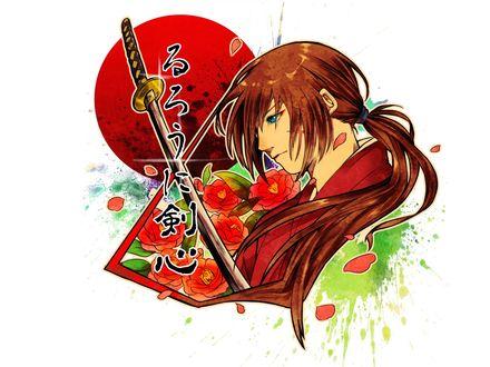 Обои Химура Кеншин / Himura Kenshin с катаной и красными камелиями из аниме Самурай Х / Samurai Х / Бродяга Кеншин / Tramp Kenshin