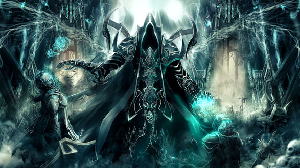 Обои Безликий демон забирает души воинов в битве на фоне древнего города