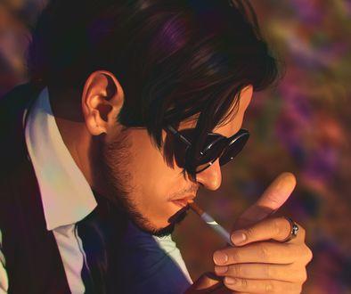 Обои Парень подкуривает сигарету, by Marta Deer