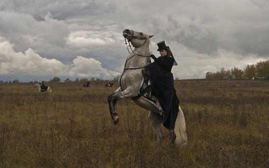 Обои Дама на серой лошади