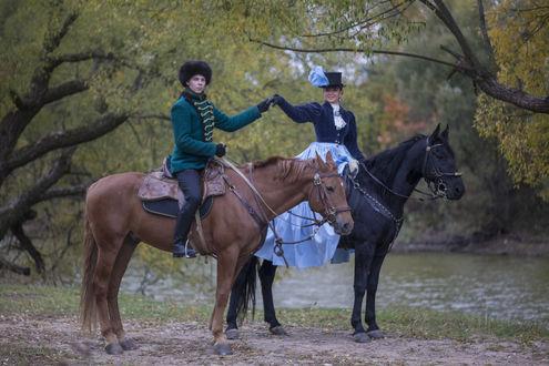 Обои Русская пара на лошадях