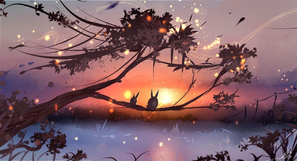 Обои для рабочего стола Два ушастых сказочных существа сидят на ветке дерева над рекой и любуются закатом, art by Ryky