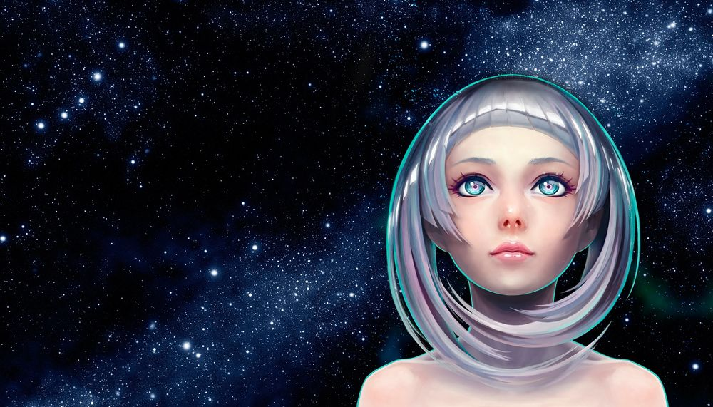 Обои для рабочего стола Белокурая девушка на фоне космоса, by Satoshi Ueda