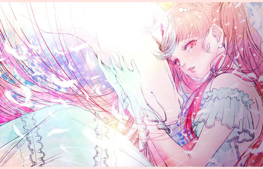 Обои для рабочего стола Чибиуса и Пегас из аниме Сейлор Мун / Seilor Moon, by kuroe