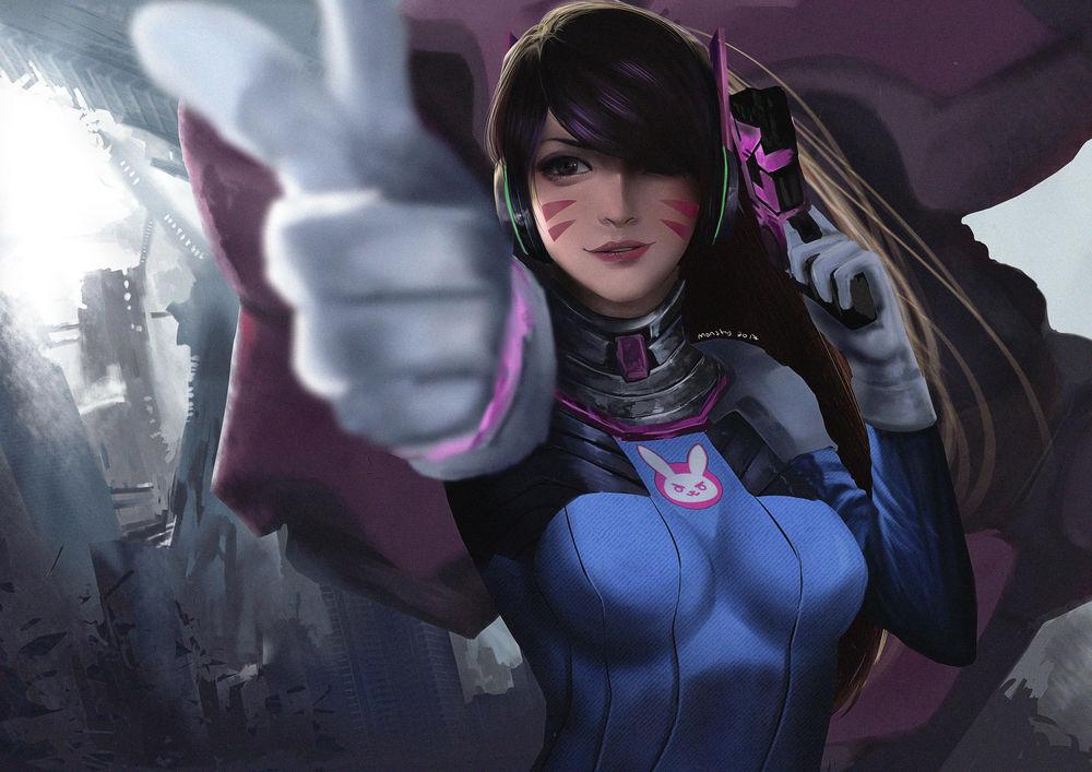 Обои для рабочего стола D. VA / Ханна Сон из игры Overwatch / Дозор, by darkzmonsty