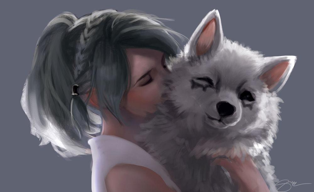 Обои для рабочего стола Лунафрейя / Lunafreya держит на руках щенка из игры Final Fantasy XV / Последняя фантазия XV