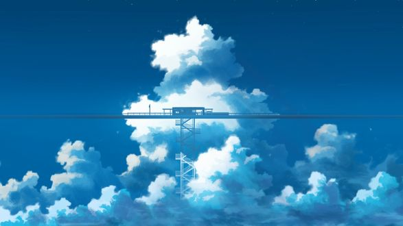 Обои Железнодорожная станция высоко в небе, by K. Hati