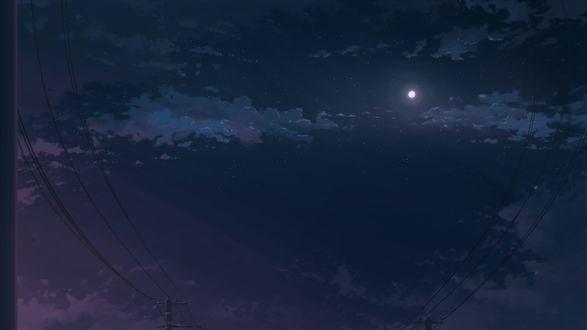 Обои Линии электропередач на фоне ночного неба, by K. Hati