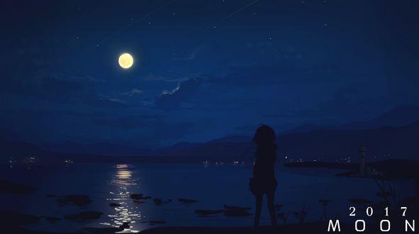 Обои Силуэт девушки на морском берегу ночью, (MOON 2017)