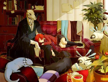 Обои Элиас Эйнсворт / Elias Ainsworth спит на колене Чисэ Хатори / Chise Hatori на диване в его кабинете из аниме Невеста чародея / Mahoutsukai no Yome