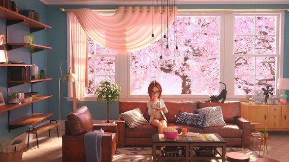 Обои Noriko Sato читает книгу, сидя на диване, в своей комнате с черной кошкой, за окном цветет сакура