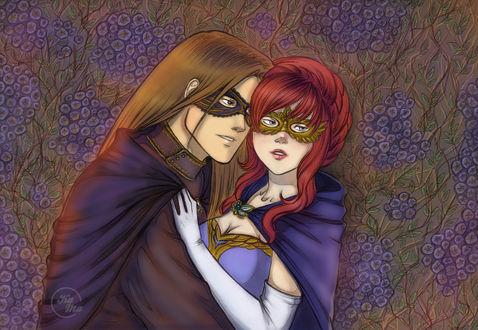 Обои Девушка и парень в масках стоят на фоне сиреневых цветов