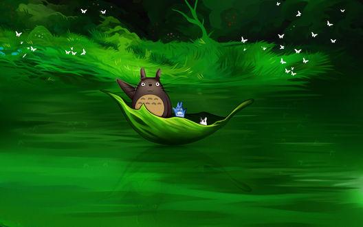 Обои Тоторо и его друзья плывут на листочке, by andrework
