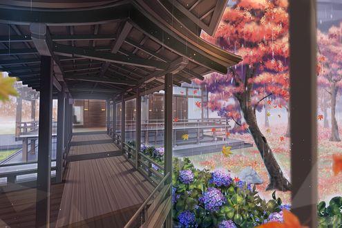 Обои Веранда в традиционном японском доме и осенний сад в дождливую погоду