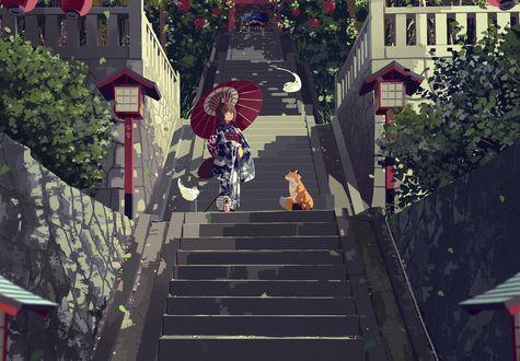 Обои Девочка Рейму Хакурей в кимоно под зонтом стоит на высокой лестнице, ведущей к японскому храму, рядом сидит лиса, Touhou Project-серия компьютерных игр, автор koyuki ekaki