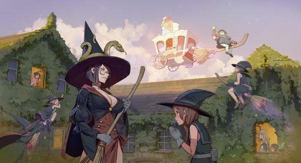 Обои Ученица просит разрешения у строгой учительницы купить мороженое у торговца с каретой, парящего в воздухе, из аниме Little Witch Academia / Академия ведьмочек, by Machou Madoshi