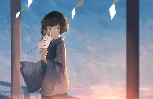 Обои Девочка в кимоно с маской в руке стоит на фоне голубого неба, by Mifuru