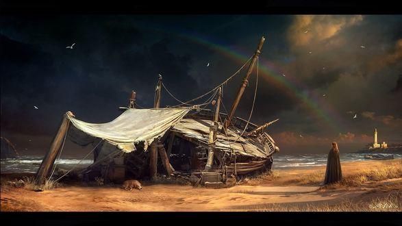Обои Девушка стоит у разбитого корабля, рядом с которым лежит собака, на берегу, на фоне неба с радугой и птицами
