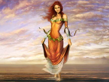 Обои Улыбающаяся девушка, стоящая в воде, на фоне неба и моря, живопись, автор Barreaux Cyril
