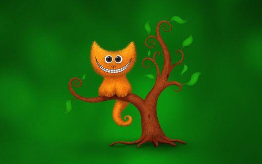 Обои Сидящий на ветке дерева чеширский кот, зеленый фон