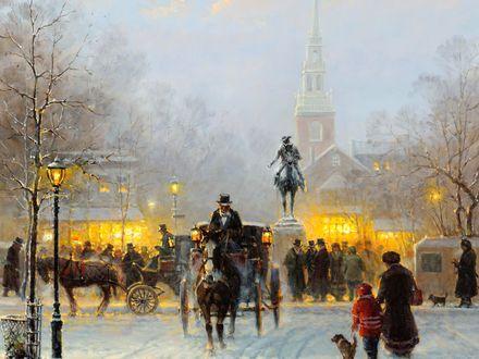 Обои Оживленная городская улица зимним вечером, художник Gerald Harvey