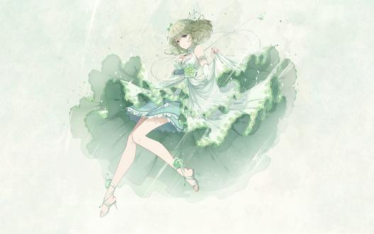 Обои Каэдэ Такагаки / Takagaki Kaede из аниме Идолмастер: Девушки-Золушки / Idolmaster / THE iDOLM@STER: Cinderella Girls в красивом платье зеленых оттенков, автор оригинала C7zhou