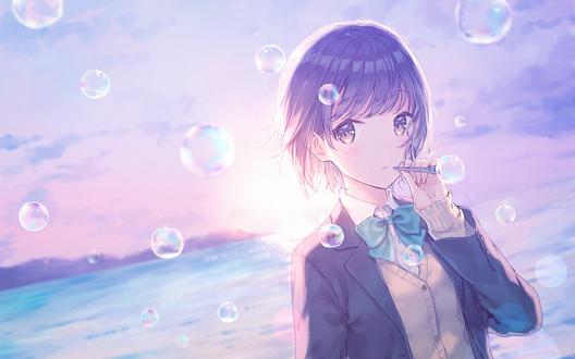 Обои Девушка пускает мыльные пузыри, by hiten goane ryu