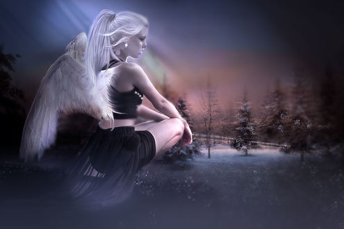 Обои Девушка-ангел присела на фоне природы