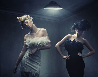 Обои Две гламурные девушки позируют стоя в комнате